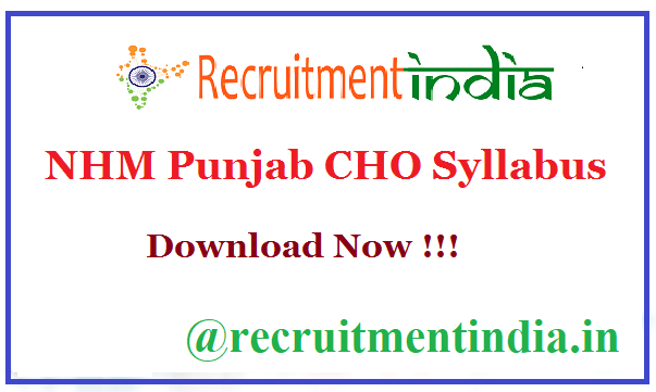 NHM Punjab CHO Syllabus