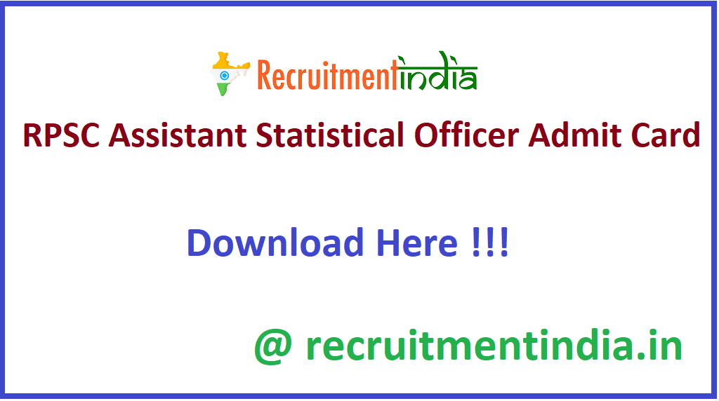RPSC Assistant Statistical Officer Admit Card