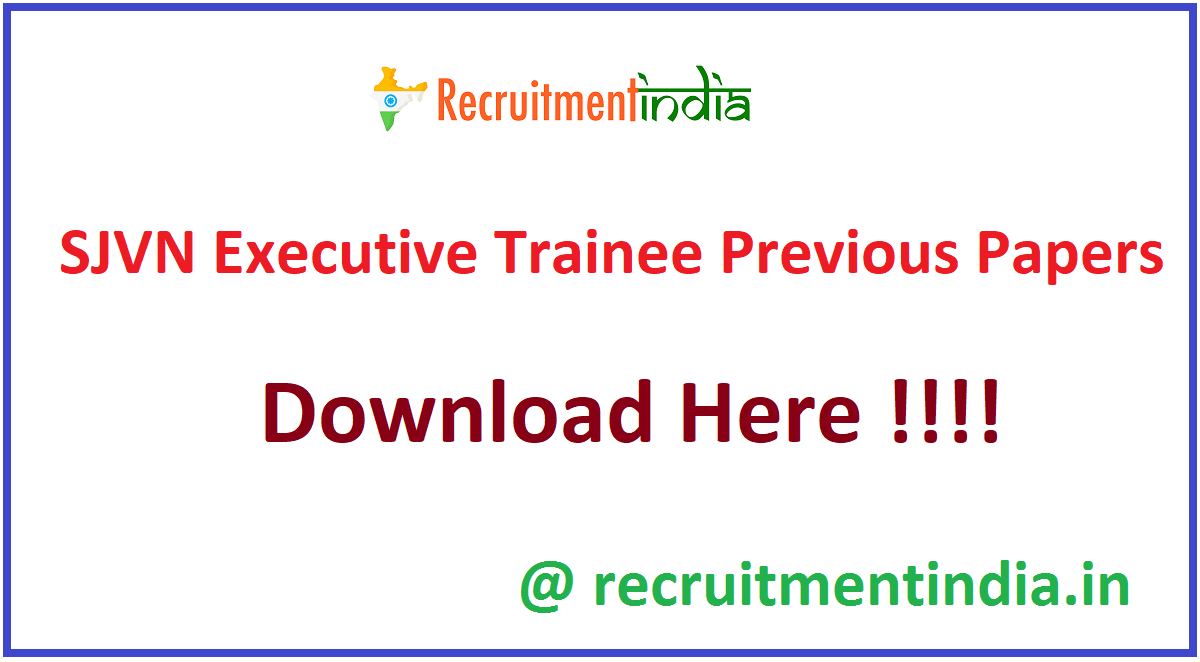 SJVN Executive Trainee Previous Papers