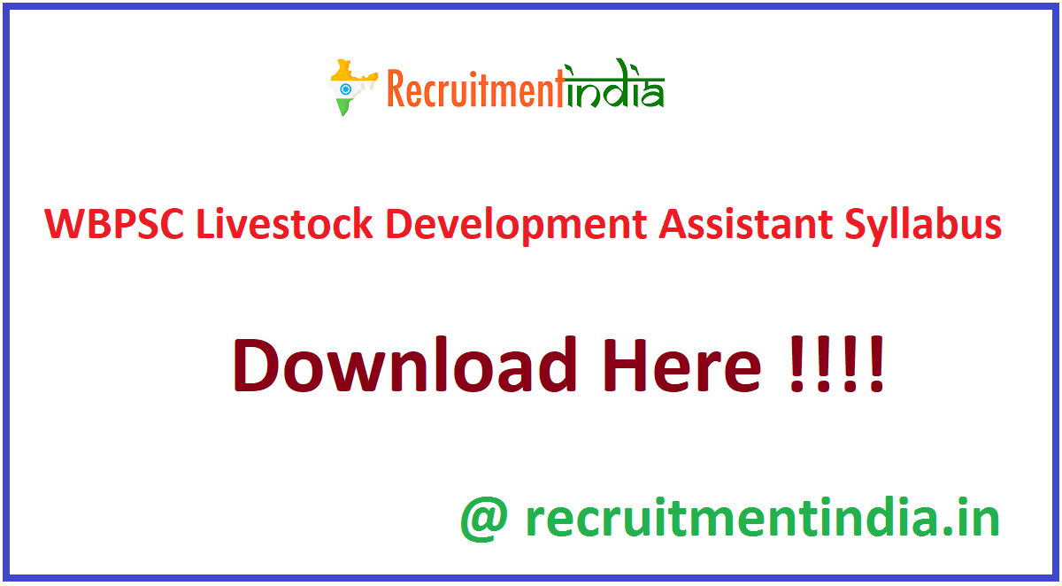 WBPSC Livestock Development Assistant Syllabus