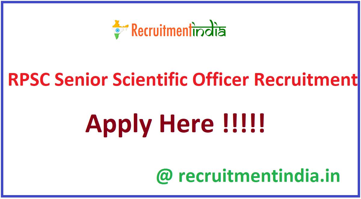 RPSC Senior Scientific Officer Recruitment