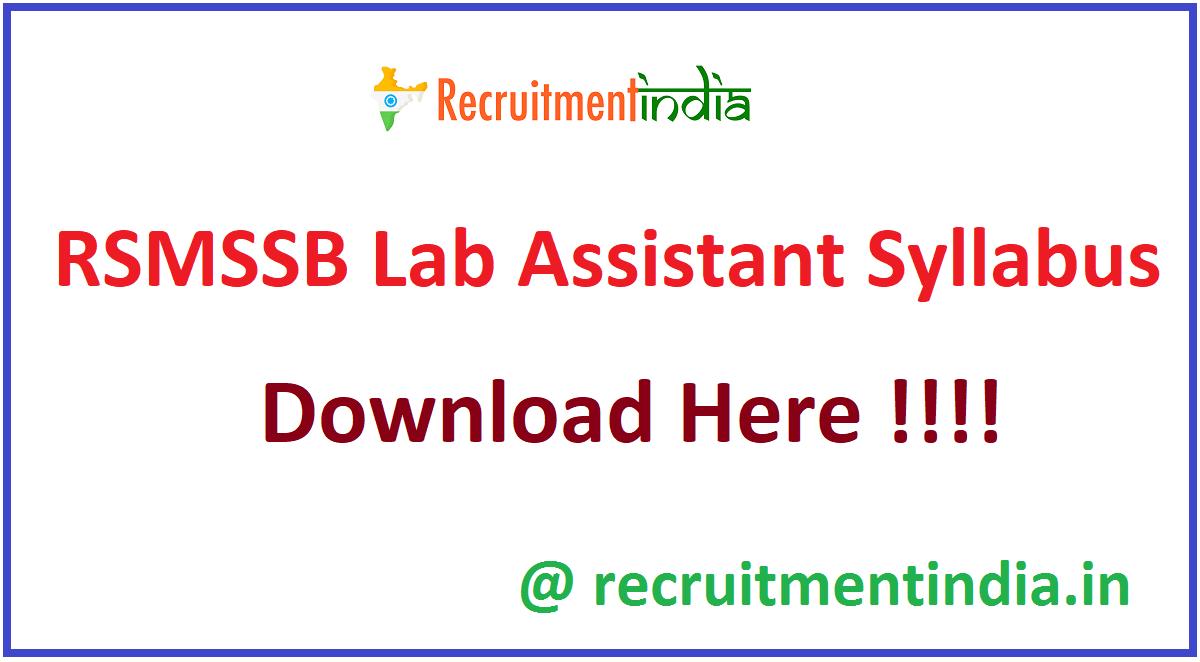 RSMSSB Lab Assistant Syllabus