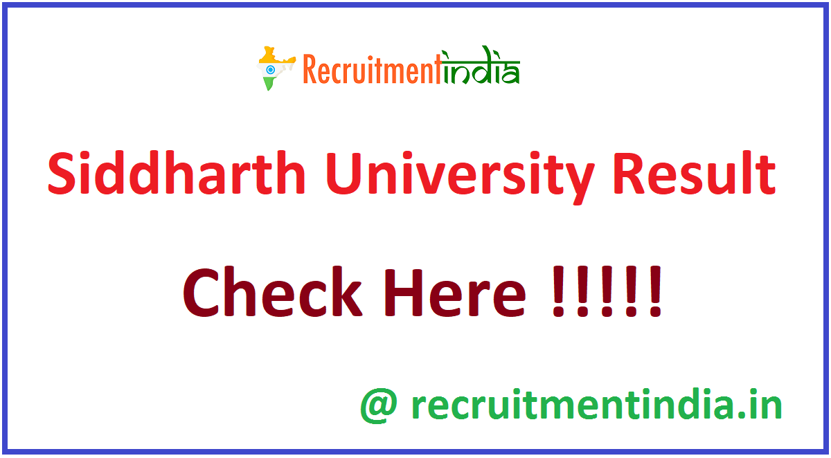 Siddharth University Result