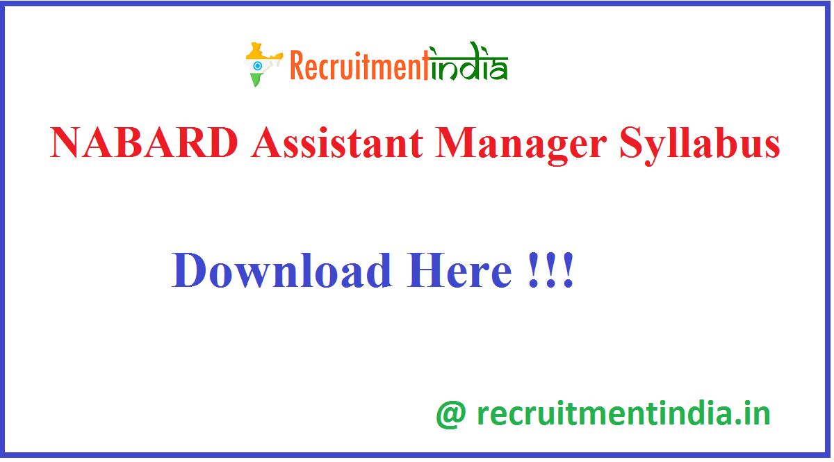 NABARD Assistant Manager Syllabus