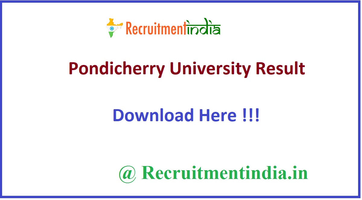 Pondicherry University Result