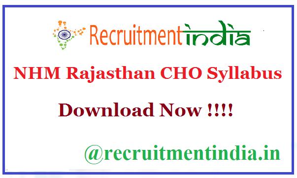 NHM Rajasthan CHO Syllabus
