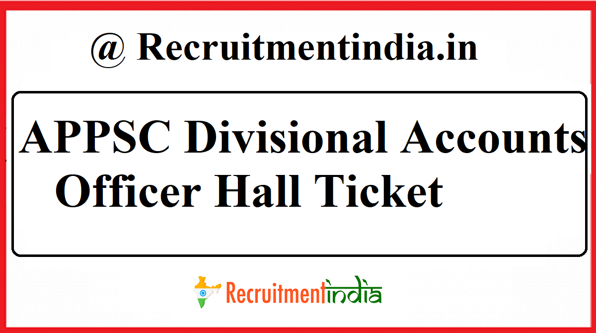 APPSC Divisional Accounts Officer Hall Ticket