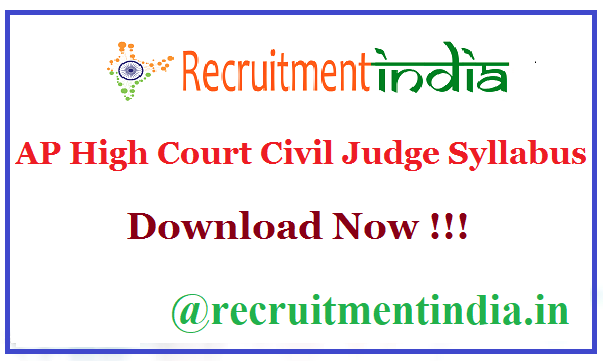 AP High Court Civil Judge Syllabus
