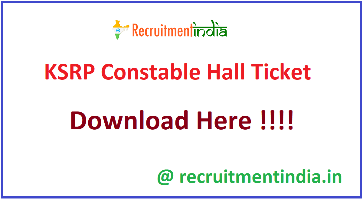 KSRP Constable Hall Ticket