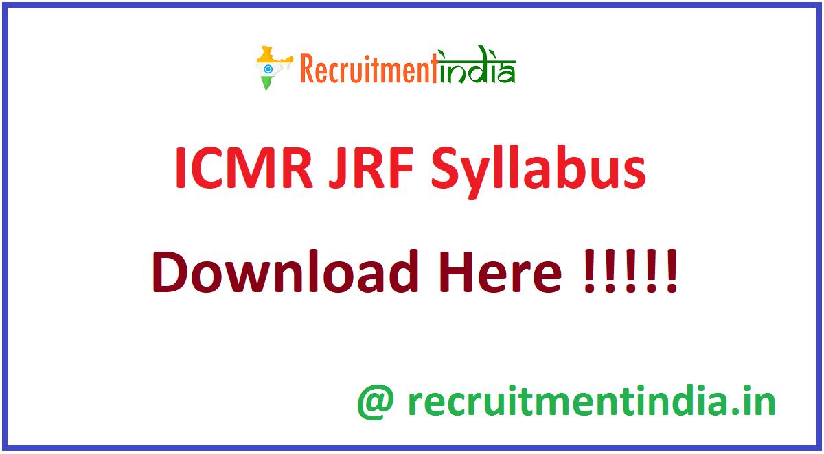 ICMR JRF Syllabus