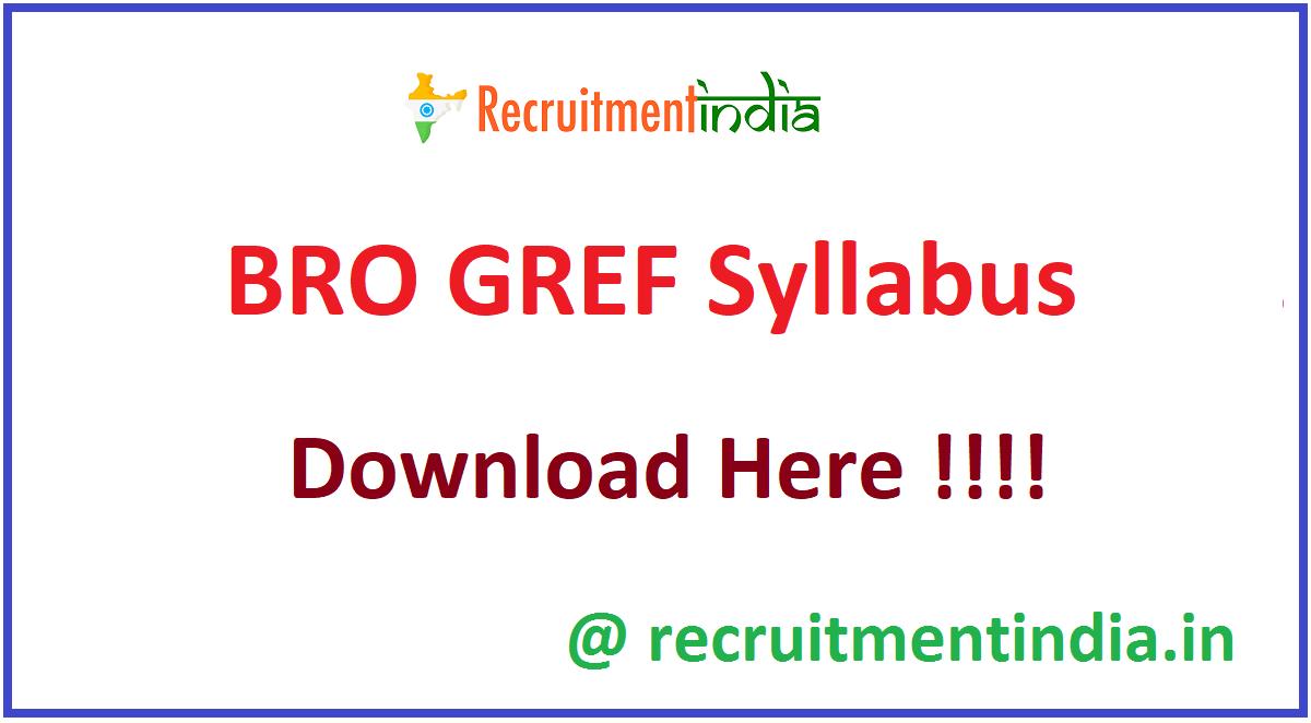 BRO GREF Syllabus