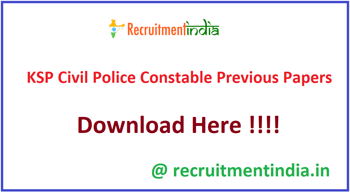 KSP Civil Police Constable Previous Papers