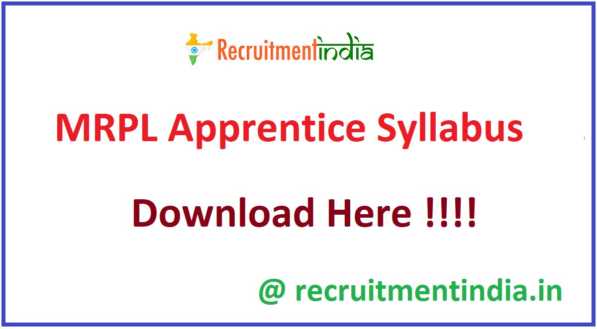 MRPL Apprentice Syllabus