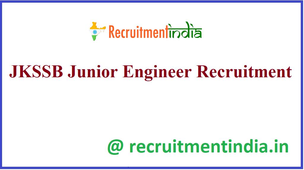 JKSSB Junior Engineer Recruitment