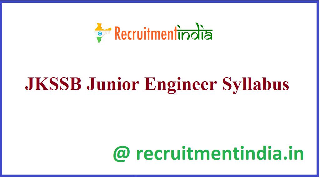 JKSSB Junior Engineer Syllabus
