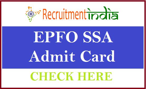EPFO SSA Admit Card