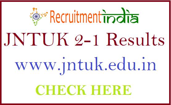 JNTUK 2-1 Results 2019 | B Tech, B Pharmacy 2-1 Sem Exam Results