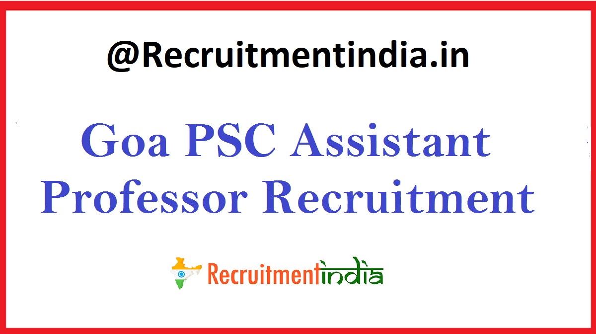 Goa PSC Assistant Professor Recruitment
