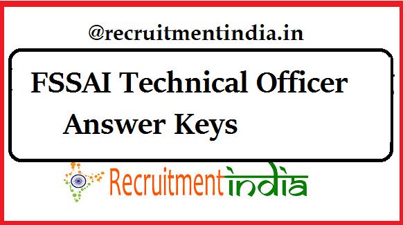 FSSAI Technical Officer Answer Keys