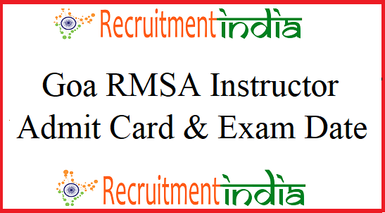 Goa RMSA Instructor Admit Card