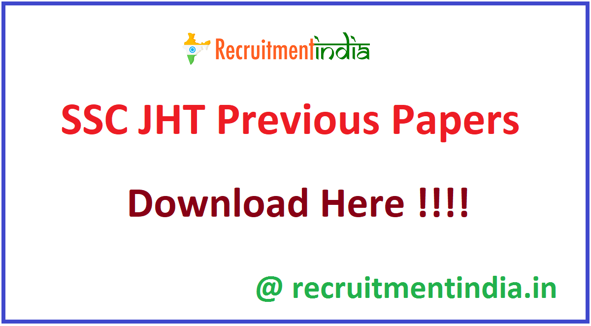 SSC JHT Previous Papers