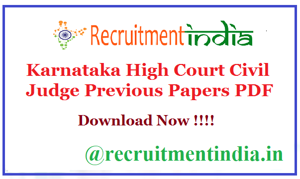Karnataka High Court Civil Judge Previous Papers