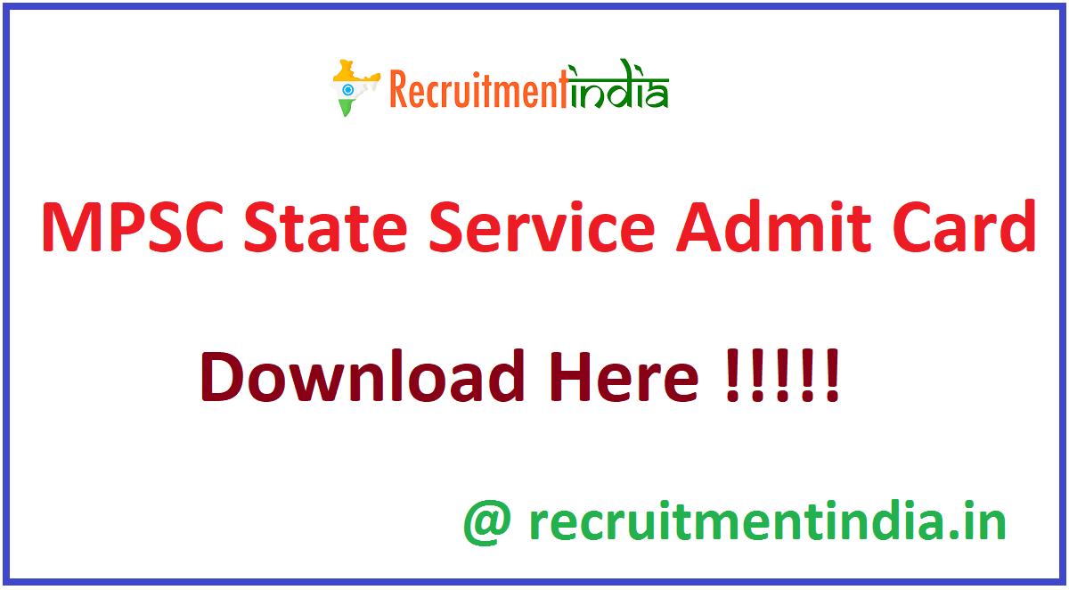 MPSC State Service Admit Card
