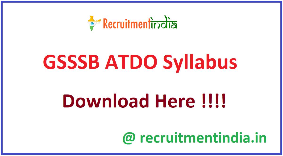 GSSSB ATDO Syllabus