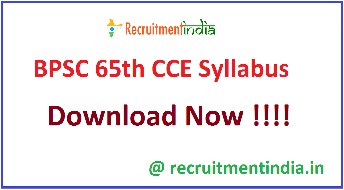 BPSC 65th CCE Syllabus