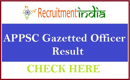 APPSC Gazetted Officer Result