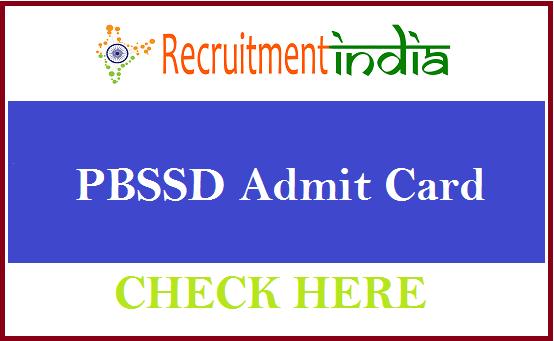 PBSSD Admit Card