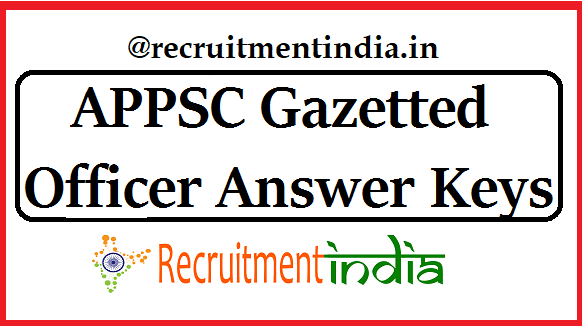 APPSC Gazetted Officer Answer Keys