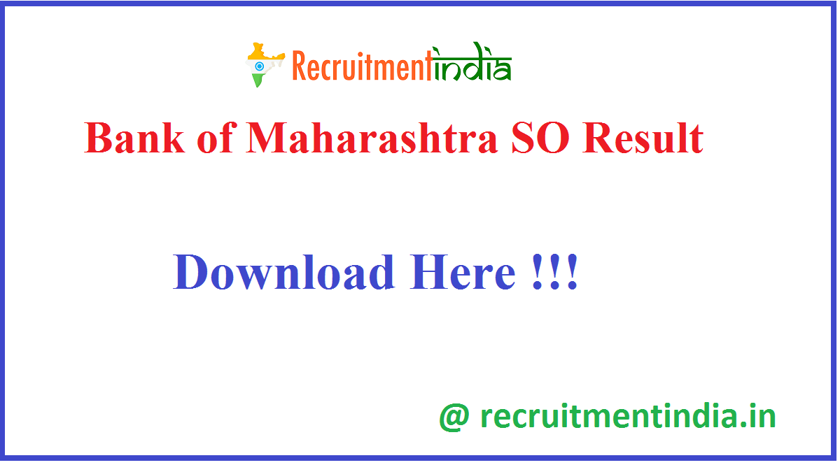 Bank of Maharashtra SO Result
