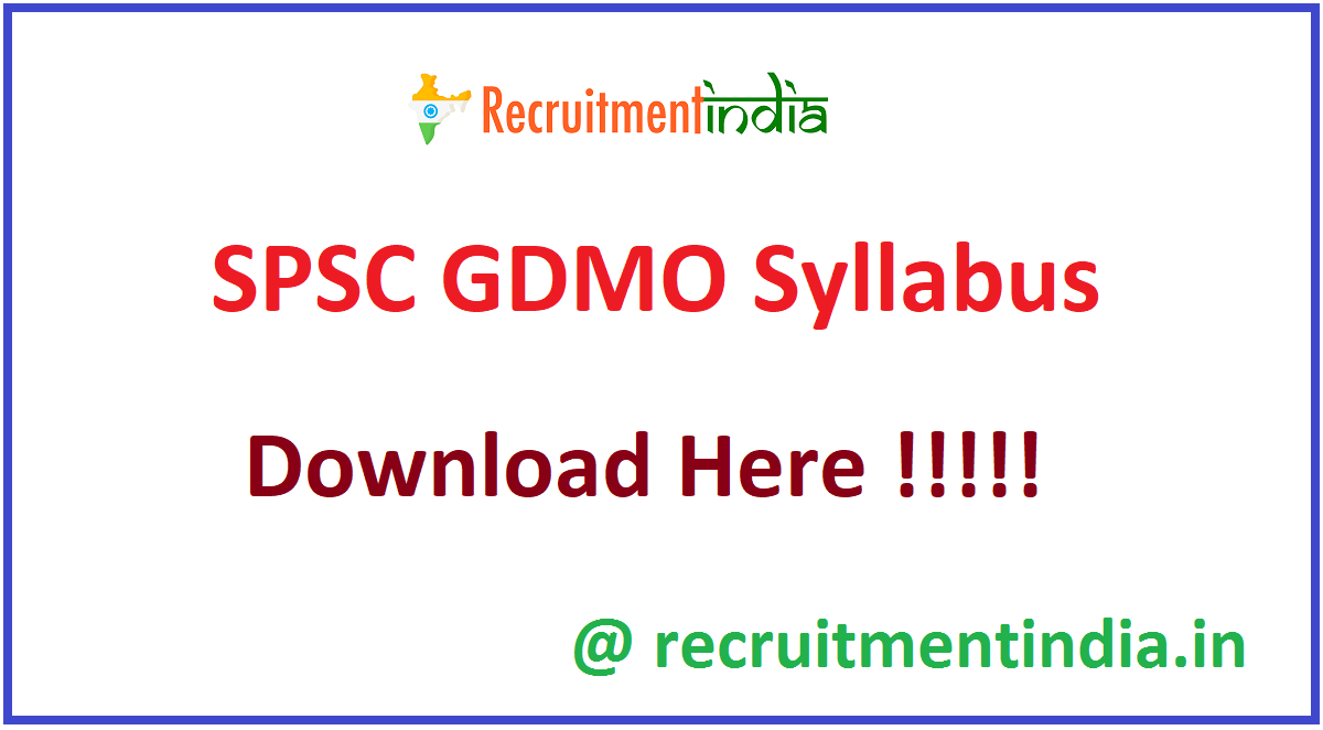 SPSC GDMO Syllabus