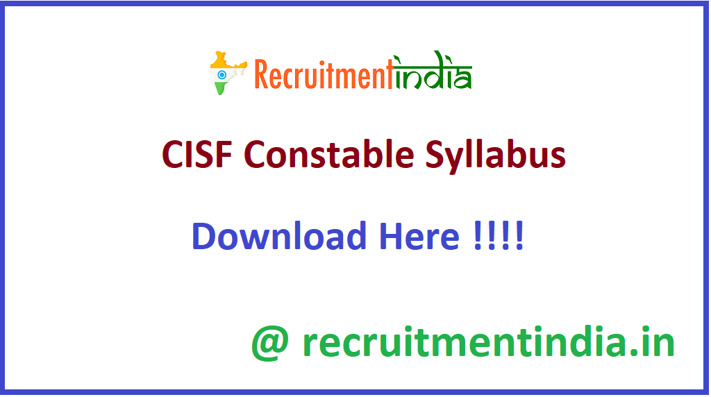 CISF Constable Syllabus