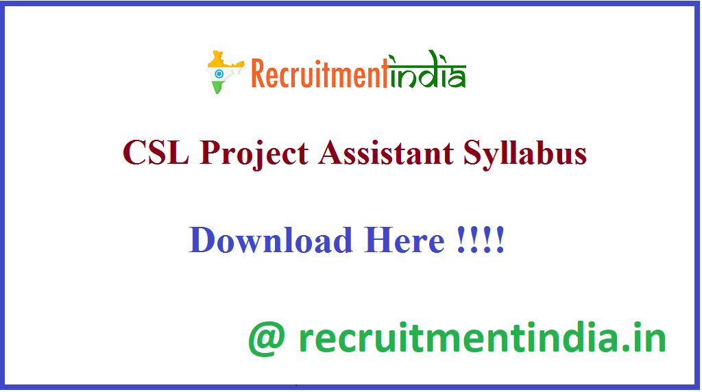 CSL Project Assistant Syllabus