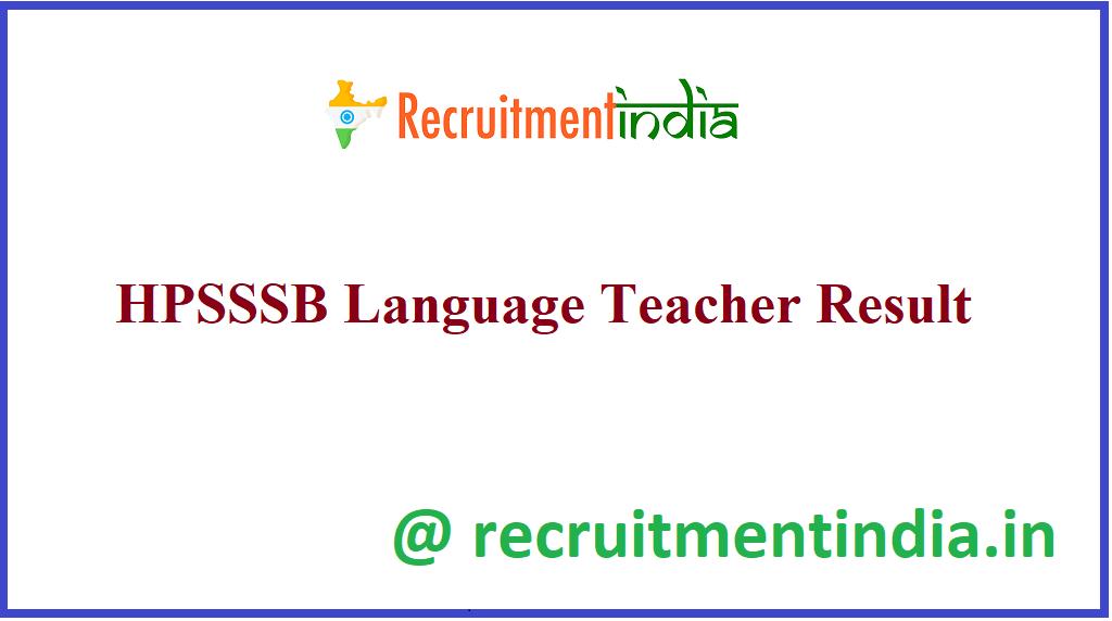HPSSSB Language Teacher Result