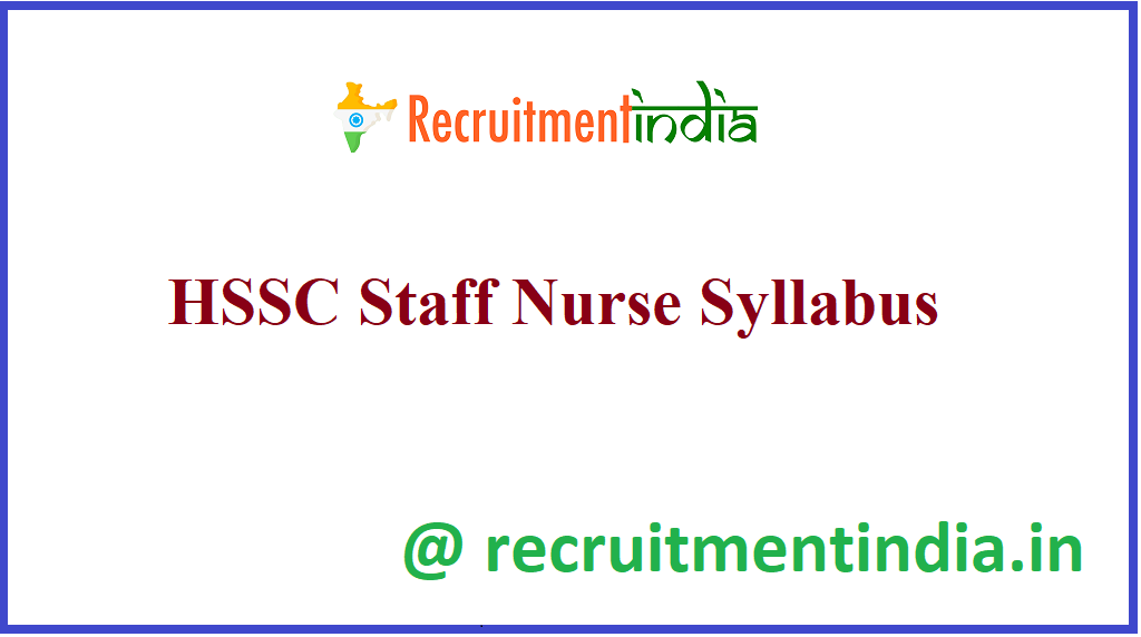 HSSC Staff Nurse Syllabus