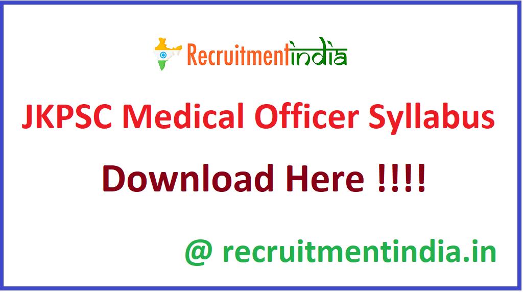 JKPSC Medical Officer Syllabus