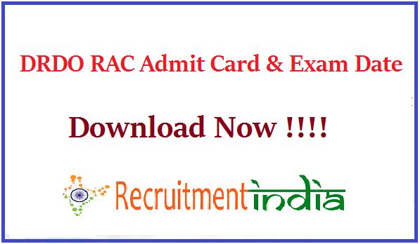 DRDO RAC Admit Card