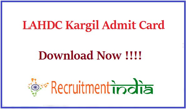 LAHDC Kargil Admit Card