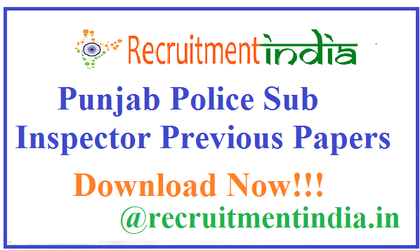 Punjab Police Sub Inspector Previous Papers