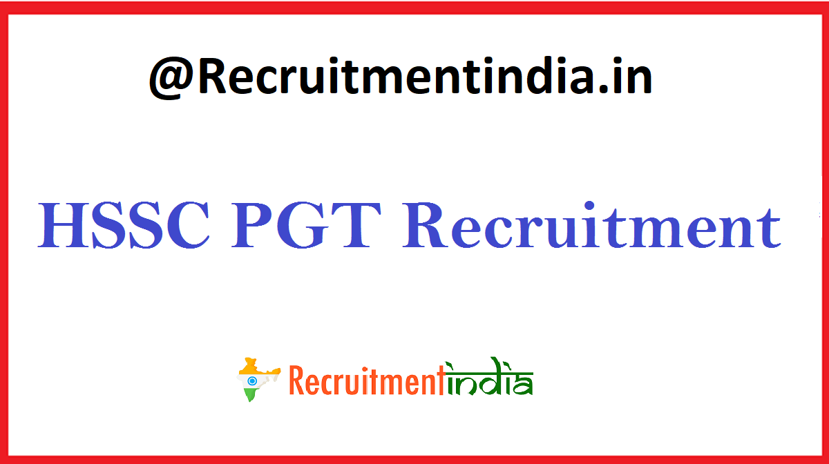 HSSC PGT Recruitment