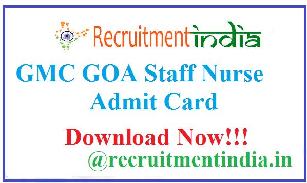 GMC GOA Staff Nurse Admit Card