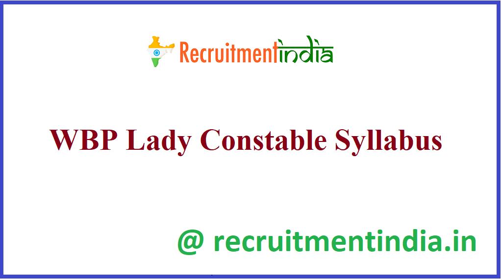 WBP Lady Constable Syllabus