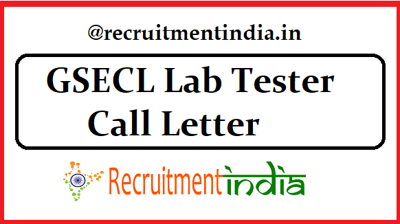 GSECL Lab Tester Call Letter