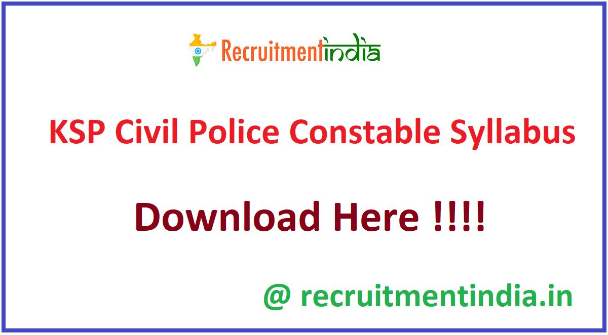 KSP Civil Police Constable Syllabus