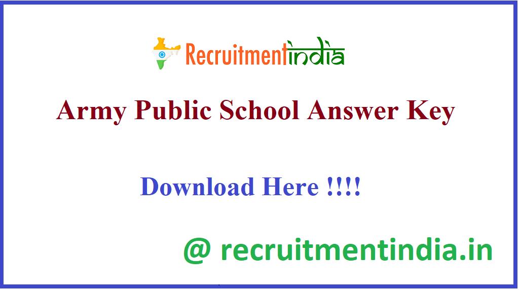 Army Public School Answer Key