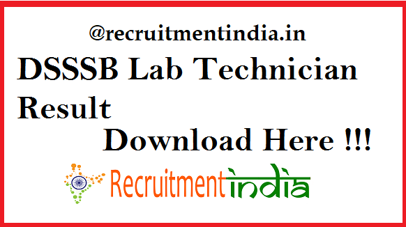DSSSB Lab Technician Result 2019