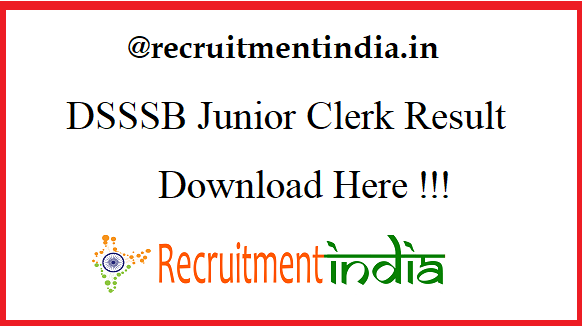 DSSSB Junior Clerk Result 2019